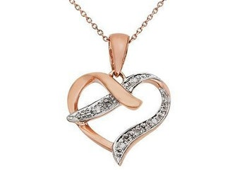 Personalised Heart Necklace * 9ct Rose Gold  * 0.01ct Genuine Diamond * Heart Jewelry * Perfect for Valentines Day, Birthday, Christmas
