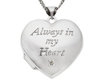 Personalised Heart Locket Necklace * Sterling Silver * Secret Heart Locket * 2 Picture Locket * Mourning Jewelry * Heart Gift *