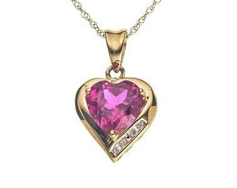 Personalised Heart Necklace * 9ct Gold  * 0.01ct Genuine Diamond * Ruby Heart Jewelry * Perfect for Valentines Day, Birthday, Christmas