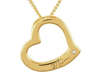 Personalised Mum Necklace * 9ct Gold Vermeil * Perfect for Mothers Day, Birthday, Christmas * Genuine 0.01ct Diamond