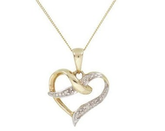 Personalised Heart Necklace * 9ct Yellow Gold  * 0.01ct Genuine Diamond * Heart Jewelry * Perfect for Valentines Day, Birthday, Christmas