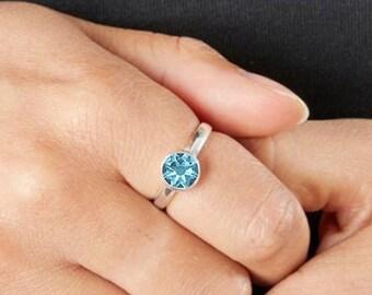 Personalised Sterling Silver Aquamarine Cubic Zirconia Gemstone Pendant March Birthstone Ring