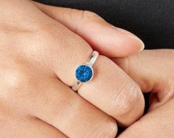 Personalised Sterling Silver Sapphire Cubic Zirconia Gemstone Pendant September Birthstone Ring