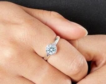 Personalised Sterling Silver Diamond Cubic Zirconia Gemstone Pendant April Birthstone Ring