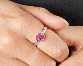 Personalised Sterling Silver Pink Tourmaline Cubic Zirconia Gemstone Pendant October Birthstone Ring