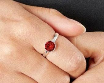 Personalised Sterling Silver Ruby Cubic Zirconia Gemstone Pendant July Birthstone Ring