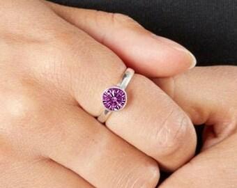 Personalised Sterling Silver Amethyst Cubic Zirconia Gemstone Pendant February Birthstone Ring