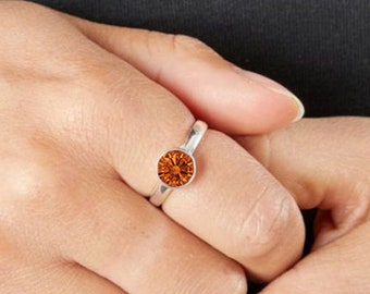 Personalised Sterling Silver Citrine Cubic Zirconia Gemstone Pendant November Birthstone Ring