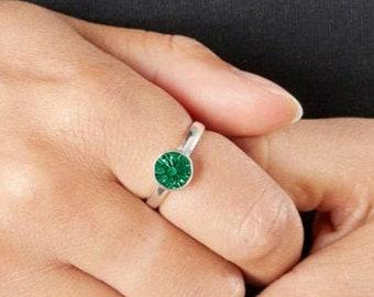 Personalised Sterling Silver Emerald Cubic Zirconia Gemstone Pendant May Birthstone Ring