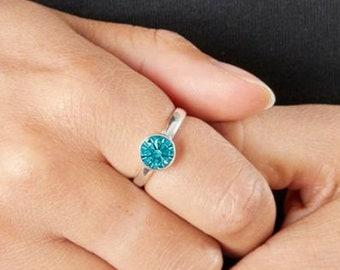 Personalised Sterling Silver Blue Topaz Cubic Zirconia Gemstone Pendant December Birthstone Ring