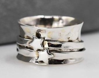 Star Spinner Ring * Sterling Silver * Boho Ring * Anxiety and Meditation Ring * Worry Ring * Spinning Jewelry * Spin Ring * Fidget Ring