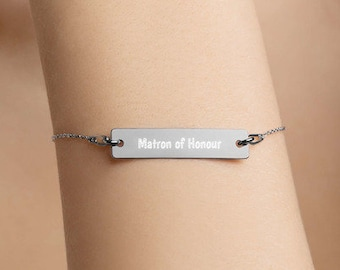 Personalised Matron of Honour Bar Bracelet * Sterling Silver, Rhodium, 24ct Yellow Gold, 18ct Rose Gold