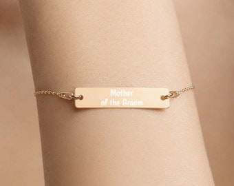 Personalised Mother of the Groom Bar Bracelet * Sterling Silver, Rhodium, 24ct Yellow Gold, 18ct Rose Gold