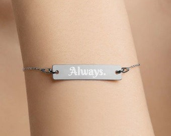 Personalised Always Bar Bracelet * Sterling Silver, Rhodium, 24ct Yellow Gold, 18ct Rose Gold