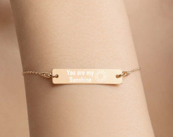 Personalised You are my Sunshine Bar Bracelet * Sterling Silver, Rhodium, 24ct Yellow Gold, 18ct Rose Gold