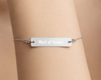 Personalised Maid of Honour Bar Bracelet * Sterling Silver, Rhodium, 24ct Yellow Gold, 18ct Rose Gold
