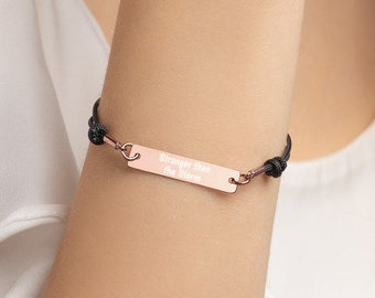 Personalised Stronger than the Storm Bar Bracelet * Sterling Silver, Rhodium, 24ct Yellow Gold, 18ct Rose Gold