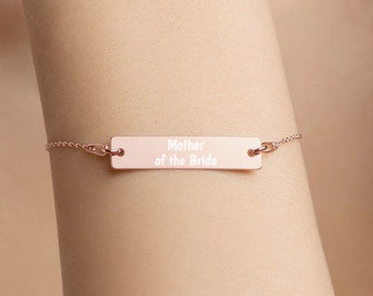 Personalised Mother of the Bride Bar Bracelet * Sterling Silver, Rhodium, 24ct Yellow Gold, 18ct Rose Gold