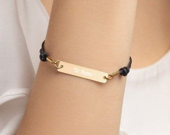 Personalised Te Amo - I love you, Spanish Nameplate Bracelet * Sterling Silver, Rhodium, 24ct Yellow Gold, 18ct Rose Gold