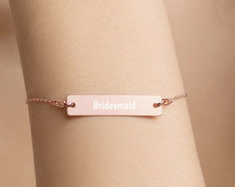 Personalised Bridesmaid Bar Bracelet * Sterling Silver, Rhodium, 24ct Yellow Gold, 18ct Rose Gold
