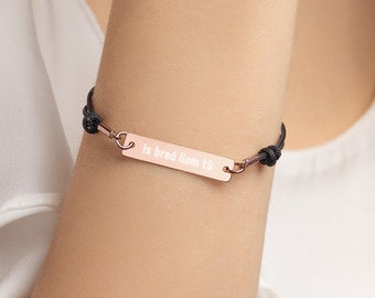 Personalised Is breá liom tú - I love you, Irish Bar Bracelet * Sterling Silver, Rhodium, 24ct Yellow Gold, 18ct Rose Gold