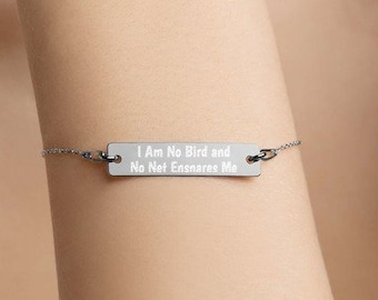 Personalised I am no bird and no net ensnares me - Charlotte Bronte Bar Bracelet * Sterling Silver Rhodium, 24ct Yellow Gold, 18ct Rose Gold