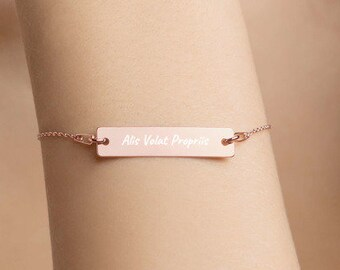 Personalised Alis Volat Propriis - She Flies with her own wings Bar Bracelet * Sterling Silver, Rhodium, 24ct Yellow Gold, 18ct Rose Gold