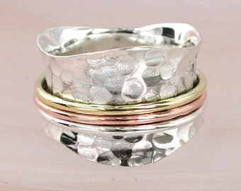 UK N Personalised Textured Spinner Ring * Sterling Silver * Boho * Anxiety, Meditation, Worry, Spinning Jewelry * Spin, Fidget