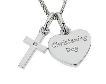 Personalised Christening Necklace * Sterling Silver * Heart, Cross