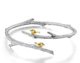 Personalised Twig Bracelet * Sterling Silver * Bird Bangle Jewelry * Botanical Forest * Summer Woodland * Flower Girl * Personalised Gift