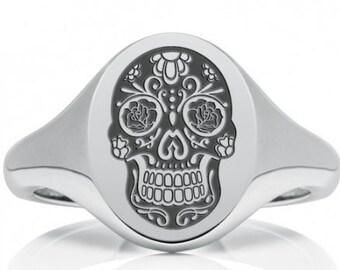 Calavera * Sugar Skull Ring * Sterling Silver * Day of the Dead Ring * Rockabilly Jewelry * Skull Jewelry * Silver Skull * Skull Ring