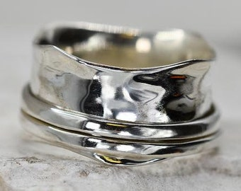 Fluted Spinner Ring * Sterling Silver * Boho Ring * Anxiety and Meditation Ring * Worry Ring * Spinning Jewelry * Spin Ring * Fidget Ring