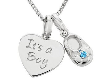 Personalised New Baby Necklace * Sterling Silver * Baby Boy * Baby Girl * Perfect for New Mothers