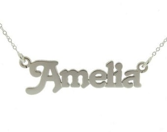 Medium Personalized Name Necklace * Sterling Silver * Name Jewelry * Silver Name Pendant * Custom Name Necklace * Hand Cut * Engraved