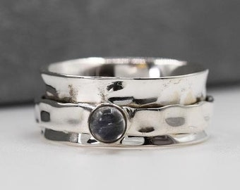 Personalised Moonstone Spinner Ring * Sterling Silver * Boho * Anxiety, Meditation, Worry, Spinning Jewelry * Spin, Fidget