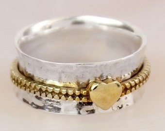 Brass Heart Spinner Ring * Sterling Silver * Boho Ring * Anxiety and Meditation Ring * Worry Ring * Spinning Jewelry * Spin, Fidget Ring