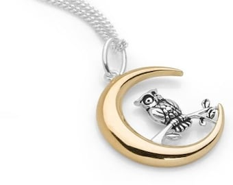 Personalized Sterling Silver and 18ct Gold Owl Necklace for Men or Women * Owl and Moon Pendant Design