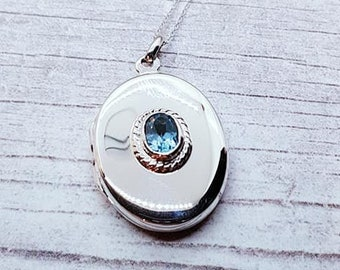 Personalised Blue Topaz Locket Necklace * Sterling Silver * Topaz Locket * Hair Locket * Picture Locket * Mourning Jewelry * Gift