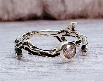 UK P Oxidised Twig Ring * Sterling Silver * Twig Jewelry * Twig Gift * Rustic Twig * Winter Twig * Frosted Twig * Branch Ring * Branch