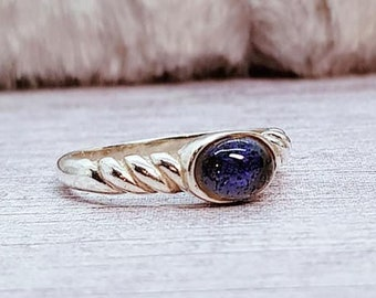 UK O Iolite Ring * Sterling Silver * Celtic Birthstone Ring * Celtic Knot * Irish Ring * Celtic Knot Jewelry * Birthstone Ring *