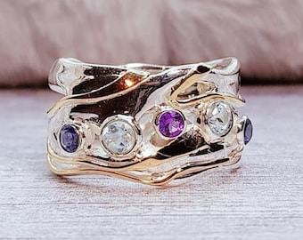 Blue Topaz, Purple Amethyst and Iolite Ring * Sterling Silver * Rustic Organic Jewelry * Unique Womens Engagement Ring * Promise Ring