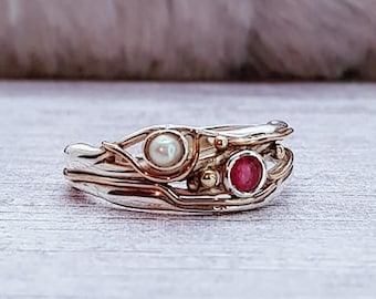 Pink Ruby and White Pearl Ring * Sterling Silver * Rustic Organic Jewelry * Unique Womens Engagement Ring * Promise Ring