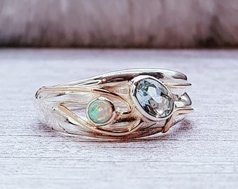 Blue Topaz, White Opalite Ring * Sterling Silver * Rustic Organic Jewelry * Unique Womens Engagement Ring * Promise Ring