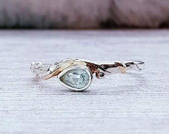 Blue Topaz Ring * Sterling Silver * Rustic Organic Jewelry * Unique Womens Engagement Ring * Promise Ring