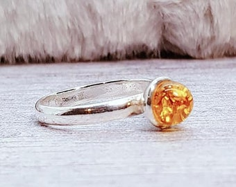 UK L Amber Ring * Sterling Silver * Celtic Birthstone Ring * Celtic Knot * Irish Ring * Celtic Knot Jewelry * Birthstone Ring *