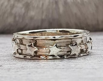 UK O Personalised Multi-Star Spinner Ring * Sterling Silver * Boho * Anxiety, Meditation, Worry, Spinning Jewelry * Spin, Fidget