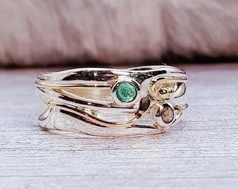 Green Emerald and Champagne Diamond Ring * Sterling Silver * Rustic Organic Jewelry * Unique Womens Engagement Ring * Promise Ring