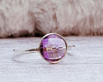 UK S Amethyst Ring * Sterling Silver * Celtic Birthstone Ring * Celtic Knot * Irish Ring * Celtic Knot Jewelry * Birthstone Ring *