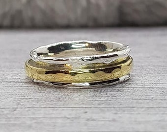 Fine Band Spinner Ring * Sterling Silver * Boho Ring * Anxiety and Meditation Ring * Worry Ring * Spinning Jewelry * Spin Ring * Fidget Ring