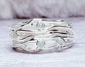 Blue Topaz Stranded Ring * Sterling Silver * Rustic Organic Jewelry * Unique Womens Engagement Ring * Promise Ring